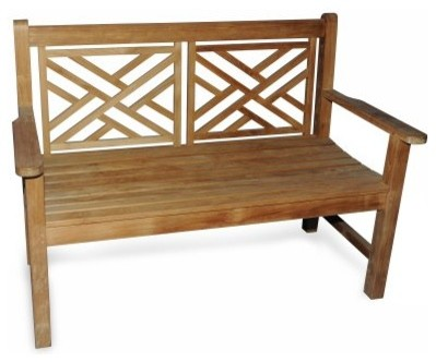 Teak Chippendale Bench contemporary-patio-furniture-and-outdoor-furniture