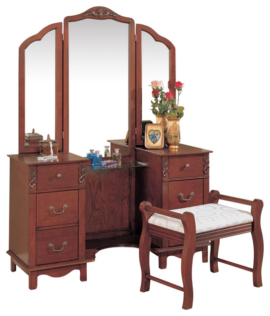 Traditional Vanity Set Tri Fold Mirror Fabric Seat Make Up Table Dresser Drawer Traditional
