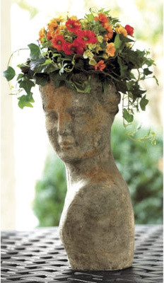 Terra Cotta Lady Planter traditional-outdoor-pots-and-planters
