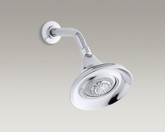 KOHLER Polished Chrome Fortè® 1.75 Gpm Multifunction Wall-mount Showerhead - Featuring a classic design, this Fortè multifunction showerhead offers water conservation without sacrificing style. Certified to meet flow, force, and water coverage requirements for water efficiency, this showerhead provides an enjoyable showering experience while conserving water. A wide coverage spray provides a gentle, all-encompassing water flow, while the medium coverage spray delivers a more invigorating experience. The concentrated spray targets an intense stream of water to ease aches and pains.
