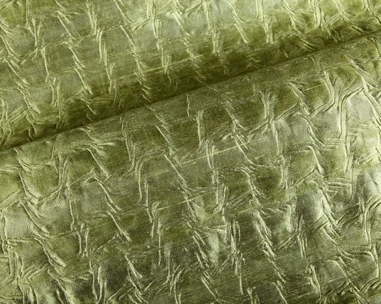 Caymana Fabric in Moss Green - Caymana Upholstery & Drapery in Moss Green Silk Fabric 100% Silk. This creased Indian silk is perfect for upholstering furniture, drapery, or accent pillows.