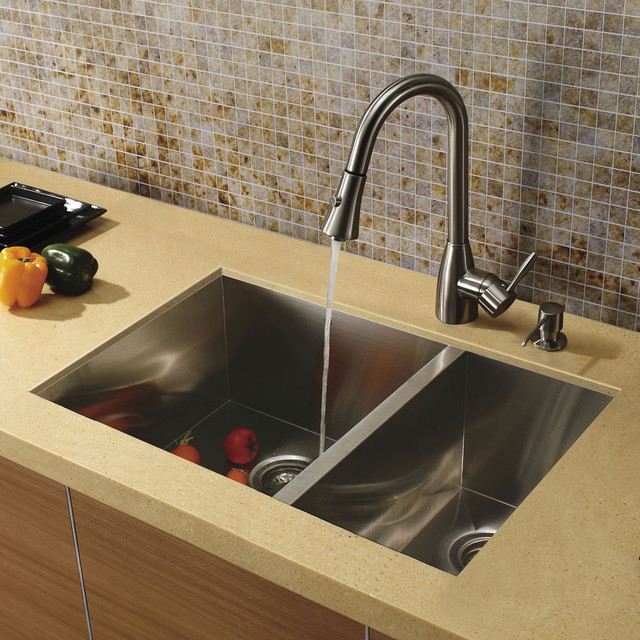 Sink Undermount : VIGO Undermount Stainless Steel Kitchen Sink, Faucet and Dispenser ...