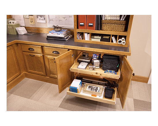 Office Cabinet with Roll Out Storage - Your home office is on a roll with tray option that stores everything you need to get the job done.