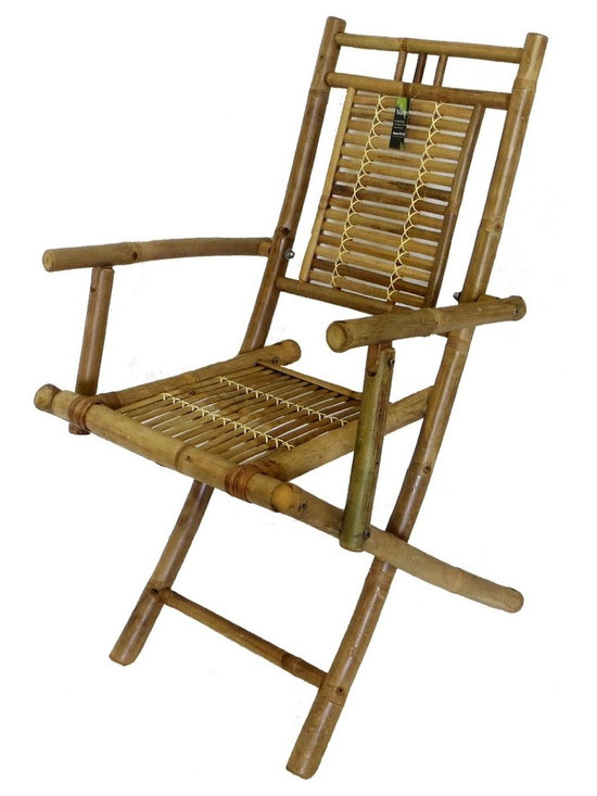 "Master Garden Products - Bamboo Folding Arm Chair, Set of Two Pieces, 22""W x 24""D x 37""H - Our foldable bamboo chairs with arm rest are constructed with Tam Vong solid bamboo. They are structurally stronger than the other bamboo chair. Our bamboo chair is the most compact in the market,  it will fold down 30"" x 38"". The ultra compact design allows you to store them away easily when not in use."