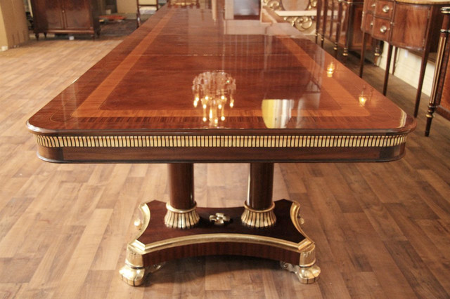 Large high end regency style king demure mahogany dining for High end dining room furniture