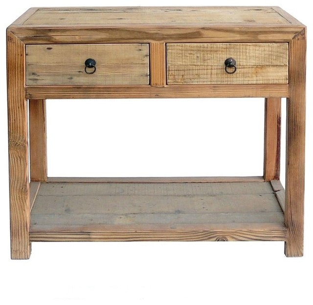 Chinese Raw Wood Plain 2 Drawers Side Table - Rustic - Furniture - by ...