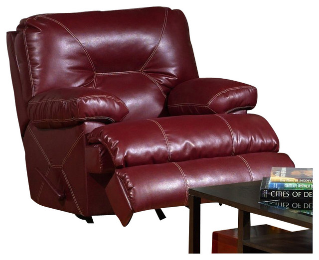 Catnapper cortez chaise glider recliner chair in red for Bonded leather chaise