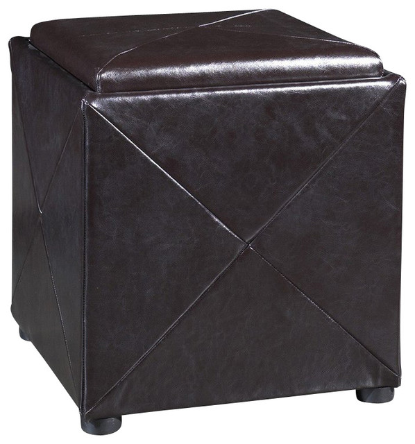 storage cube ottoman in chocolate brown leather modern ottomans and