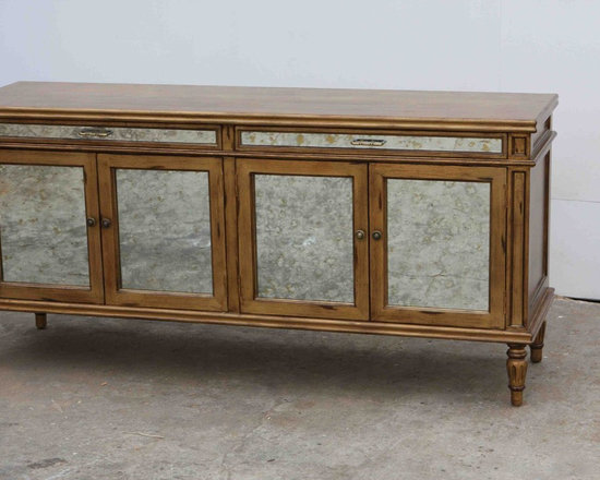 Vintage antiqued hutch/cabinet handmade in our wood shop - We custom made this vintage hutch for a client in Brentwood.