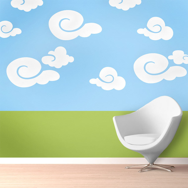 Whimsy clouds wall stencil painting kit contemporary for Clouds wall mural