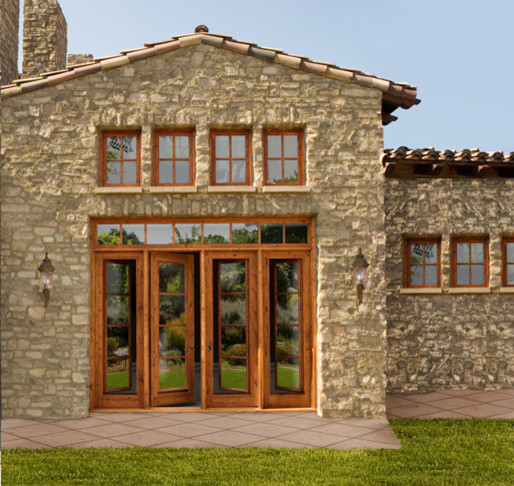 Wood french doors traditional front doors - Traditional french doors exterior ...
