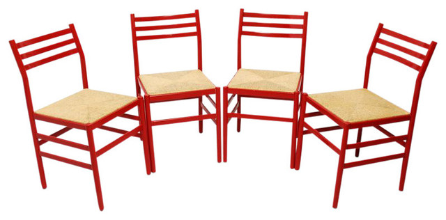 4 vintage italian red lacquer dining chairs 1 200 est