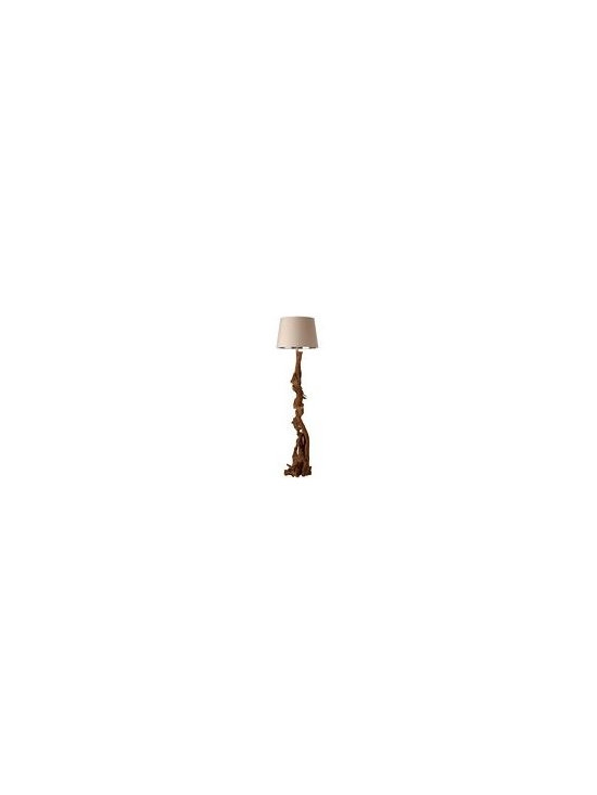 Arteriors Nantucket Driftwood Floor Lamp - Putty Shade/Silver Foil Lining