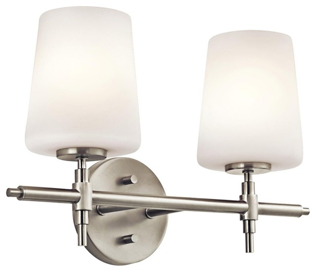 "Contemporary Kichler Arvella 16"" Wide Brushed Nickel Bath Light contemporary-bathroom-vanity-lighting"