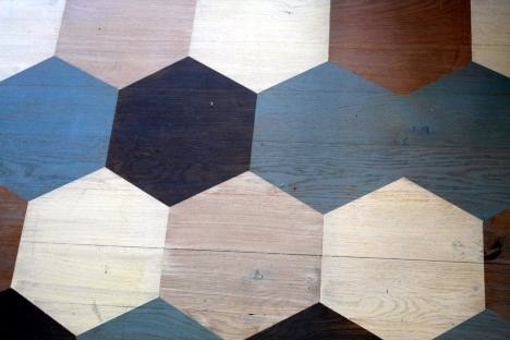 beehive color block floor