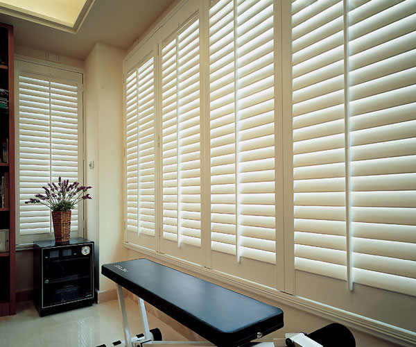 Norman Wood Plantation Shutter traditional-home-gym