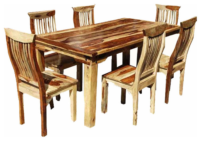 Dallas 7 Piece Wood Dining Room Set Rustic Dining Sets