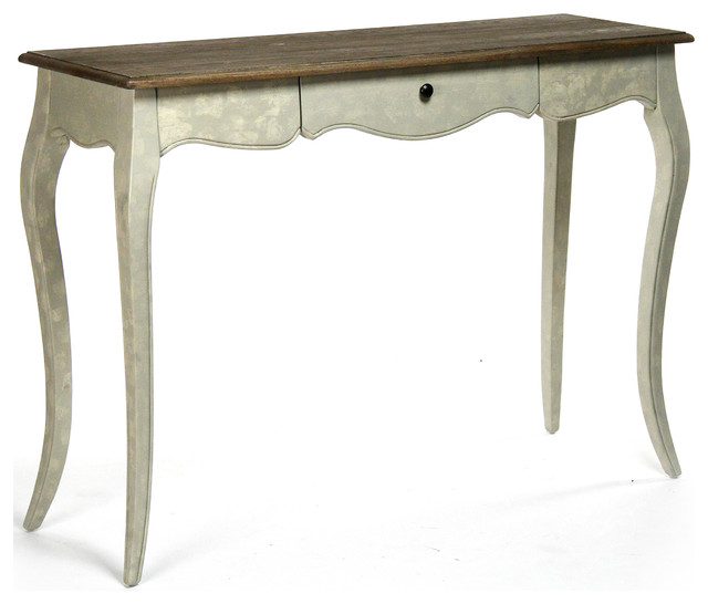 French Country Rochelle Narrow Curved Leg Console Table - side ...