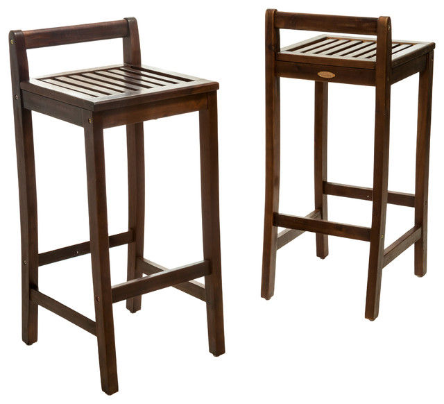 Catrina Mahogany Stained Wood Bar Stools Set Of 2
