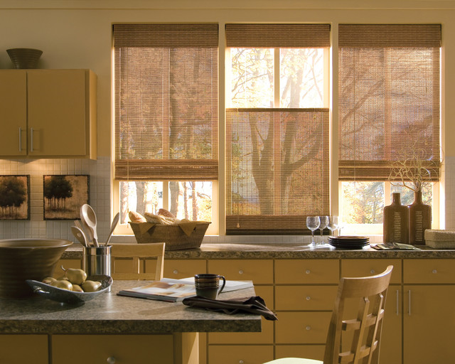 Woven Wood Blinds Rustic Kitchen Dallas By Ross