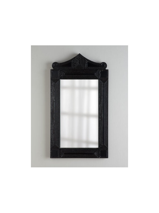 """Horchow - Ebony Mirror - With its pagoda-inspired pediment and textured frame, this mirror makes an impressive focal point for an entryway, hallway, or living space. Handcrafted of cast resin and mirrored glass. Ebony finish. D-ring for hanging. 30""""W x 1""""D x 54""""T. Imported. Boxed weight, approximately 42 lbs. Pleas"""