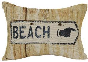 Modern Beach Pillow : Beach Sign Oblong Decorative Pillow - Contemporary - Decorative Pillows - by Walmart