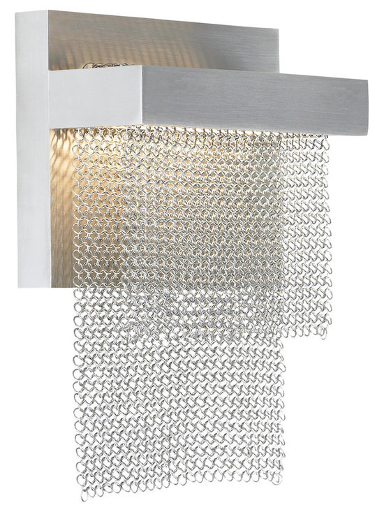 Camelot Wall Light by LBL Lighting - Camelot Wall Light features layers of chain mail suspended from a die-cast metal base. Mounts down only. Available in brass, bronze, or stainless steel with a satin nickel finish.