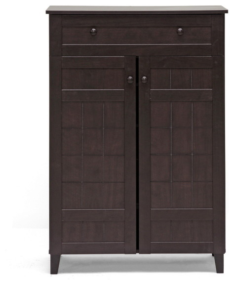 ... Dark Brown Wood Modern Shoe Cabinet (Tall) transitional-shoe-storage