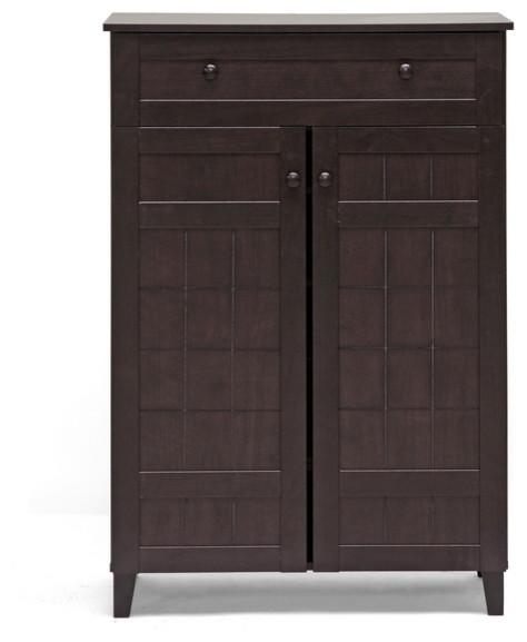 Glidden Dark Brown Wood Modern Shoe Cabinet (Tall) - Transitional ...
