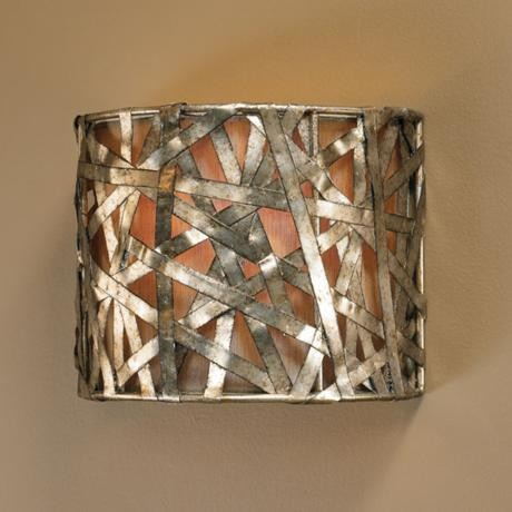 "Liata Collection Silver Leaf 9"" High Wall Sconce contemporary-wall-sconces"