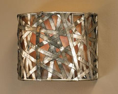 Liata Collection Silver Leaf 9 High Wall Sconce contemporary wall sconces