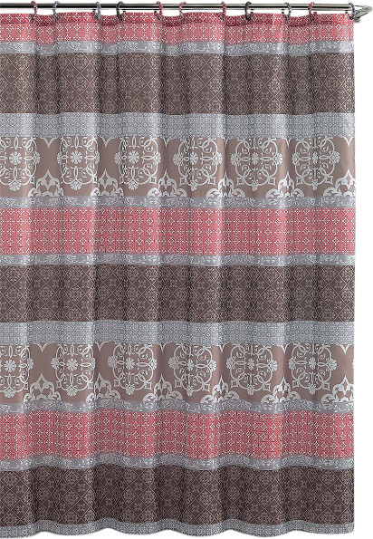 Shower Curtain Sonata Brown Coral Embossed Microfiber