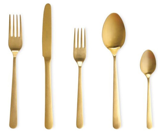 Almoco - Almoco Flatware 5-Piece Setting, Gold - The clean lines of this gleaming gold flatware keep the set feeling fresh and modern. Can you imagine how awesome this would look on a holiday table? Drool, drool, drool!