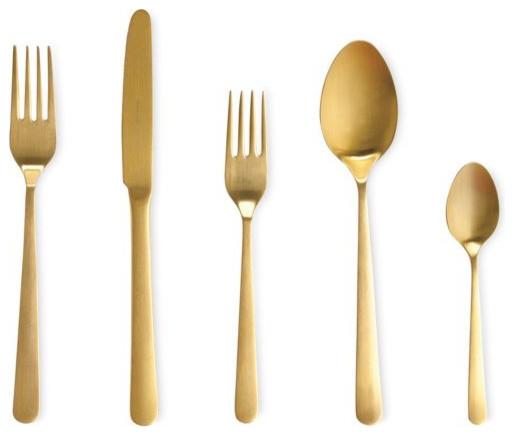 Almoco flatware 5 piece setting gold bauhaus look bestecksets von design within reach - Almoco flatware ...