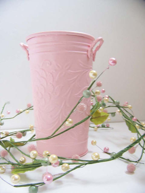 Shabby Chic Pink Vase Up-cycled Metal Container by Nor Scott traditional-vases