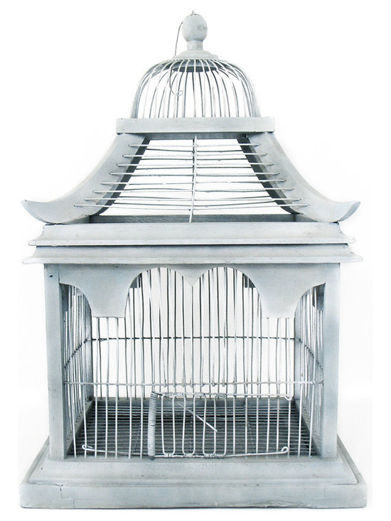 Blue Bird Cage - This pagoda shaped bird cage would make a pretty display on a book shelf or table! Painted in subtle layers of blue and grey. The bottom tray is metal and can be pulled out as shown in photo.