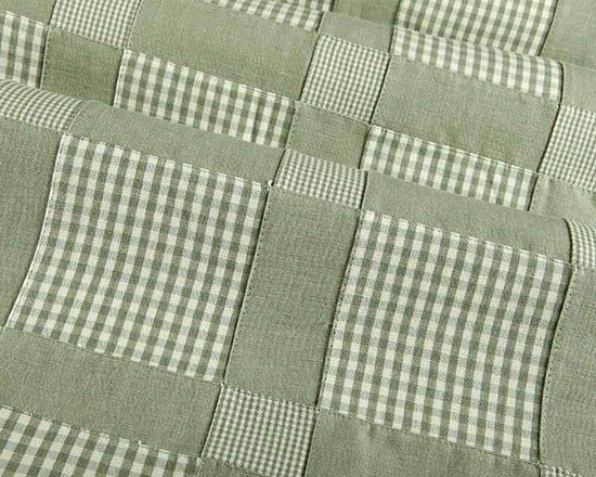Patchwork Fabric in Celadon - Patchwork Fabric in Celadon is a fun fabric that works perfectly for upholstery, drapery, or bedding and pillows. This plaid fabric has a rustic vibe perfect for country inspired interiors. Made in India from 100% cotton. Cleaning code: S. Repeat: 6 3/4″V 6 3/4″H; Width: 54″.
