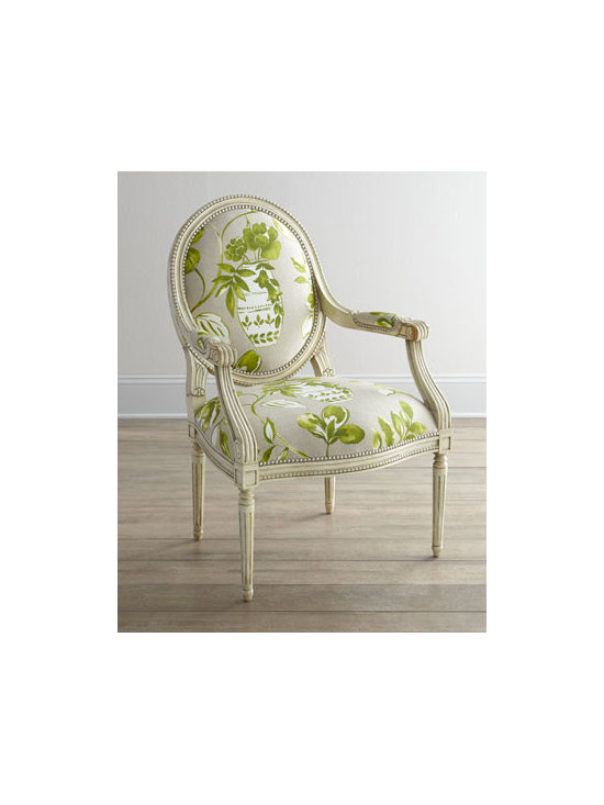 """Massoud - Massoud """"Brinna"""" Chair - One of our favorite frames arrives dressed in an oversized urn-and-floral motif for a chair that instantly refreshes any room. We particularly like the way the beading on the frame echoes the striking nailhead trim. Handcrafted of beechwood with cotton..."""
