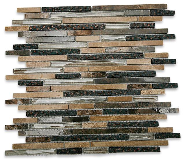 Arcadia Karri Random Brick Glass and Stone Tile eclectic-tile