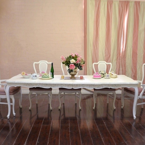 French Dining Room Table: French Style Large White Dining Table With 2 Leaves