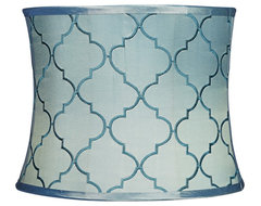 Contemporary Blue Moroccan Tile Drum Shade 13x14x11 (Spider) contemporary-lamp-shades