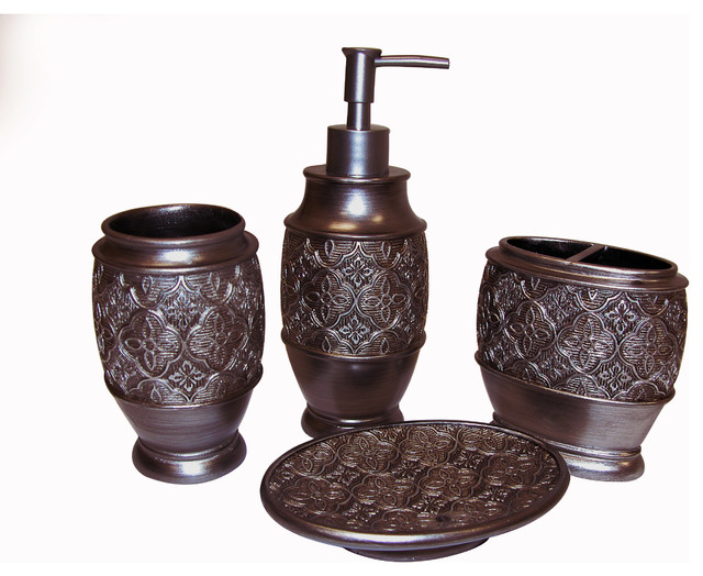 kasbar bronze bath accessory 4 piece set contemporary