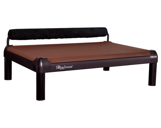 DoggySnooze - snoozeSleeper, Anodized Frame, Memory Foam Long, 1 Bolster Blk - It's a dog's life for pooches who get to snooze on this contemporary dog bed. Elevated for comfort with a sturdy bolster for support, this bed comes in a selection of colors to complement your home or office decor. Made in the USA and available in three sizes, with optional black anodized frame, long legs and memory foam.
