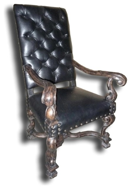New Fireside Chair Tufted Black Leather traditional-dining-chairs
