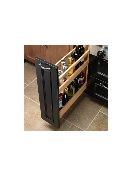 Base Liter Pull-Out - The roll-out bottle drawer is the perfect place for all your favorite oils, cooking wines, or other tall bottles up to 2 liters.
