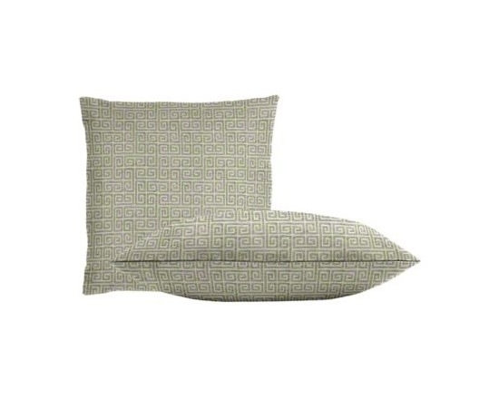 """Cushion Source - Plush Gray Greek Key Throw Pillow Set - The Plush Gray Greek Key Throw Pillow Set consists of two 18"""" x 18"""" throw pillows featuring a small scale velvety Greek key pattern in pale gray/blue on an off-white background."""