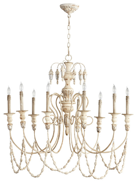 Florent French Country White 9 Light Grand Chandelier