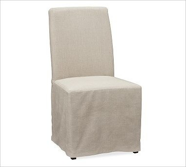 Napa Side Chair Slipcover Long Length Linen Flax