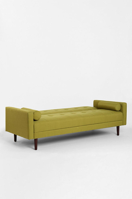 Night and day convertible sofa green modern indoor for Chaise daybed sofa
