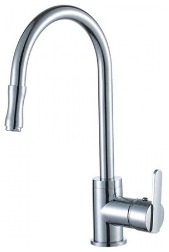 Single Handle Kitchen Faucet with Pull-Out Sprayer and Base Plate contemporary-kitchen-faucets